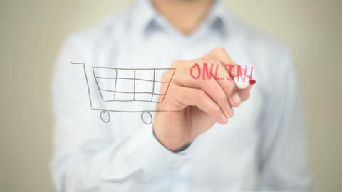 Online Shopping, Man Writing On Transparent Screen stock footage