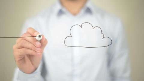 Cloud Computing, Man writing on transparent screen Footage