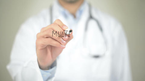 Multivitamins, Doctor Writing On Transparent Screen stock footage