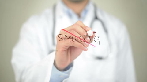 No to Smoking, Doctor writing on transparent screen Footage