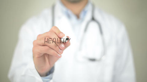 Healthy Lifestyle, Doctor writing on transparent screen Footage