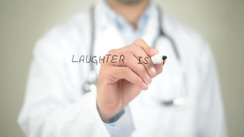 Laughter is the Best Medicine, Doctor writing on transparent screen Live Action