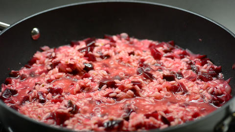 Cooking a Beetroot Italian Creamy Risotto GIF