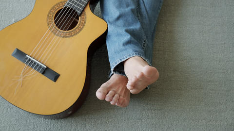 Singer And Guitar Player Feet With Musical Instrument For Music Live Action