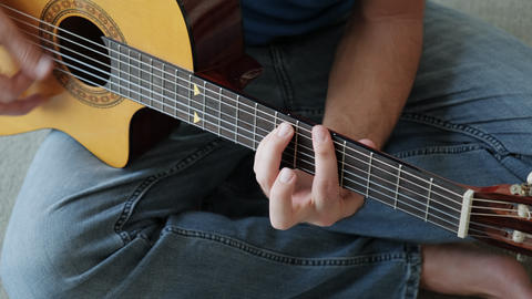 People Playing Guitar Student Singing For Music Song Fun Footage