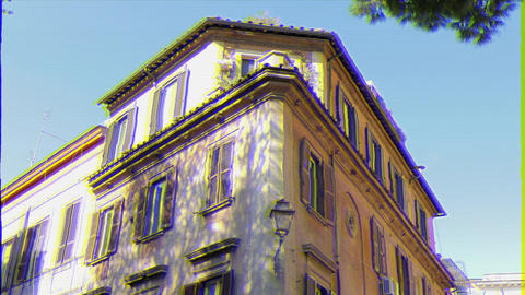 Glitch effect. House on Via Di Ponte Sisto. Rome, Italy - February 18, 2015: The historic city GIF