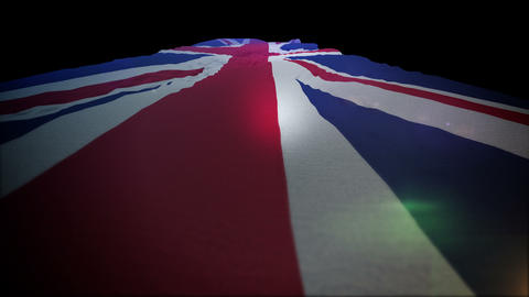 Flapping British Flag Moving Up in Slo-Mo Animation