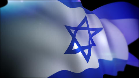 Flapping Flag of Israel in Slow Motion Animation