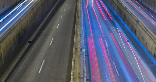 Night scene of urban traffic.Time Lapse - Trail effect - Long exposure - 4K Live Action