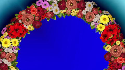 Animation of a rotating ring of flowers on a blue... Stock Video Footage