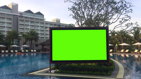 Large greenscreen led board in resort entertainment zone for party or event GIF
