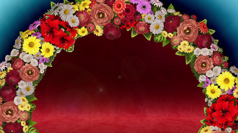 Animation of a swirling ring of flowers on a light blue and red background. Loop video Animation