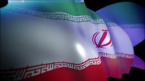Waving Tricolor Banner of Islamic Iran Animation