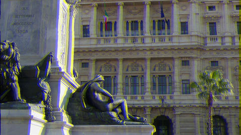 Glitch effect. Camillo Benso di Cavour monument and Palace of Justice. Rome, Italy Footage