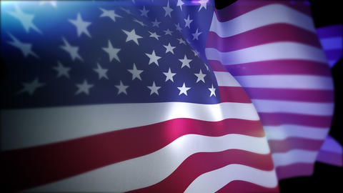 Flappping Flag of the USA in Slow Motion Animation