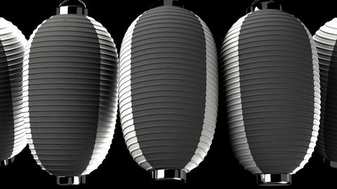 Black and white paper lantern on black background CG動画素材