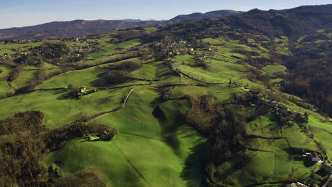 Aerial view of beautiful towns and villages on the hills of Emilia-Romagna GIF