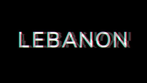 From the Glitch effect arises country name LEBANON. Then the TV turns off. Alpha channel Animation
