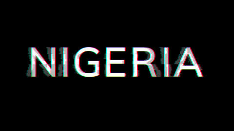 From the Glitch effect arises country name NIGERIA. Then the TV turns off. Alpha channel Animation