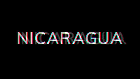 From the Glitch effect arises country name NICARAGUA. Then the TV turns off. Alpha channel Animation