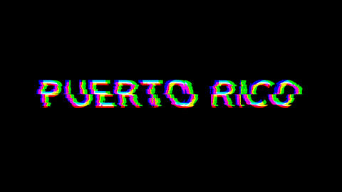 From the Glitch effect arises country name PUERTO RICO. Then the TV turns off. Alpha channel Animation