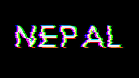 From the Glitch effect arises country name NEPAL. Then the TV turns off. Alpha channel Premultiplied Animation