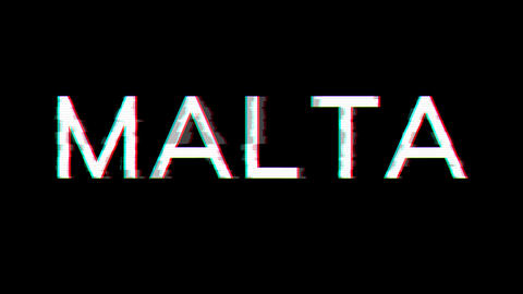From the Glitch effect arises country name MALTA. Then the TV turns off. Alpha channel Premultiplied Animation