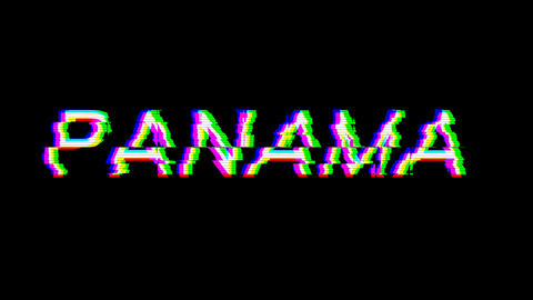 From the Glitch effect arises country name PANAMA. Then the TV turns off. Alpha channel Animation