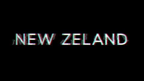 From the Glitch effect arises country name NEW ZELAND. Then the TV turns off. Alpha channel Animation