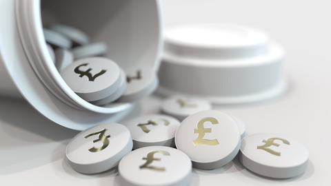 Close-up shot of pills with stamped pound sterling GBP symbol on them. Expensive GIF