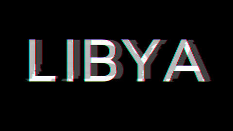 From the Glitch effect arises country name LIBYA. Then the TV turns off. Alpha channel Premultiplied Animation