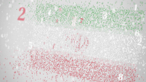Many numbers compose flag of IRAN. Digital economy conceptual 3D animation Footage