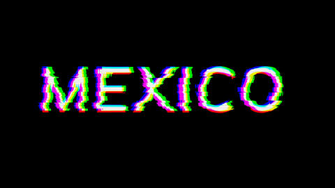 From the Glitch effect arises country name MEXICO. Then the TV turns off. Alpha channel Animation