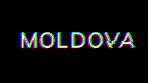 From the Glitch effect arises country name MOLDOVA. Then the TV turns off. Alpha channel Animation