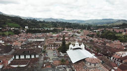 Overhead drone aerial view of the town in Colombia Footage