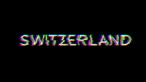 From the Glitch effect arises country name SWITZERLAND. Then the TV turns off. Alpha channel Animation