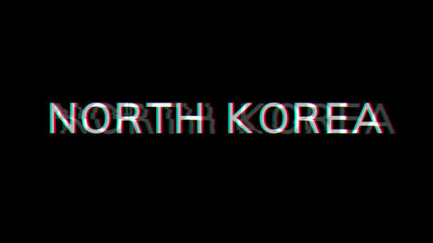 From the Glitch effect arises country name NORTH KOREA. Then the TV turns off. Alpha channel Animation