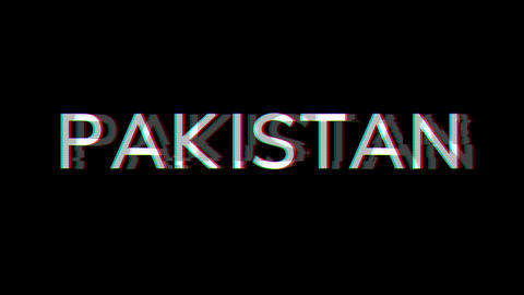 From the Glitch effect arises country name PAKISTAN. Then the TV turns off. Alpha channel Animation