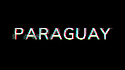 From the Glitch effect arises country name PARAGUAY. Then the TV turns off. Alpha channel Animation