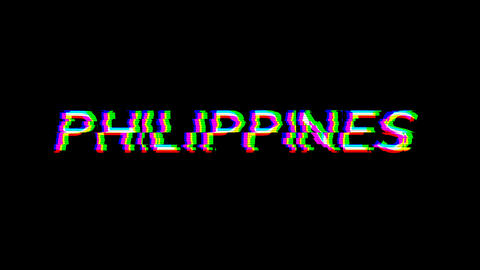 From the Glitch effect arises country name PHILIPPINES. Then the TV turns off. Alpha channel Animation