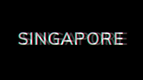From the Glitch effect arises country name SINGAPORE. Then the TV turns off. Alpha channel Animation