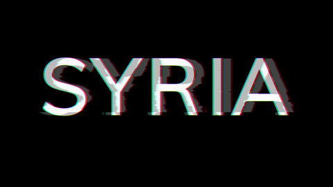 From the Glitch effect arises country name SYRIA. Then the TV turns off. Alpha channel Premultiplied Animation