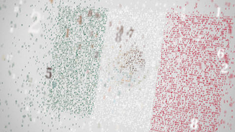 Flag of MEXICO being composed with numbers. Conceptual 3D animation Footage