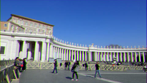 Glitch effect. People in the square of the Vatican. Rome, Italy Footage