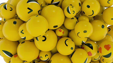 Crazy Fun Animated Transition Happy Smiley Yellow Emotion Faces Icon Explosion Live Action