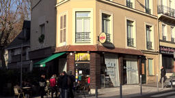 France Normandy Rouen old town corner pub in flat sunlight GIF