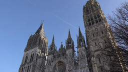 France Normandy Rouen diagonal front view of roman catholic cathedral GIF