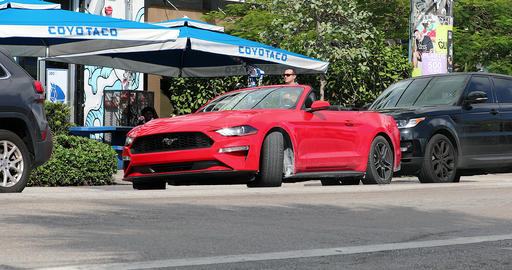 Red Ford Mustang Convertible Is Parallel Parking GIF