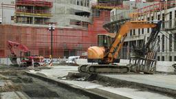 Construction Excavators on Building Construction Site Live Action