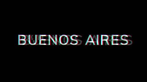 From the Glitch effect arises capital name BUENOS AIRES. Then the TV turns off. Alpha channel Animation